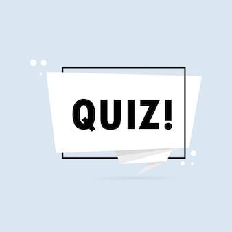 Quiz. origami stijl tekstballon banner. stickerontwerpsjabloon met quiztekst. vectoreps 10. geïsoleerd op witte achtergrond.