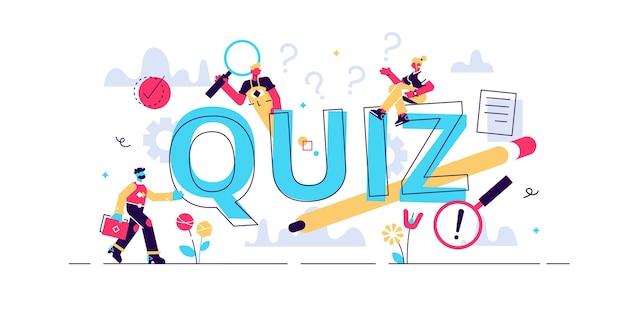 Quiz. platte kleine hersenen spel proces personen concept. eruditie-puzzel en leuk raadsel als vrije tijd, entertainment en mentale taak. intelligentieonderzoek en het vinden van oplossingen.