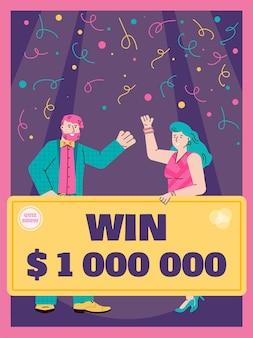 Quiz show reclame spandoek of poster sjabloon met stripfiguren