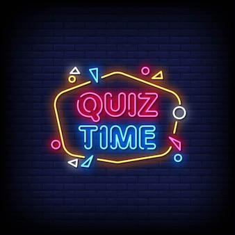 Quiz time neon signs style text