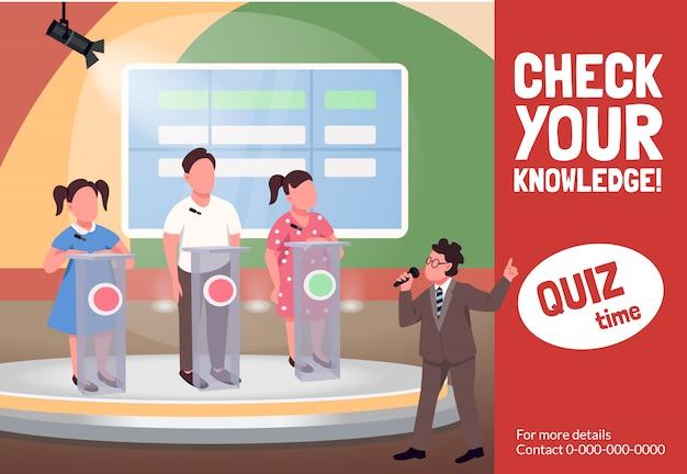Quiz toont platte sjabloon. educatieve kinderlijke programmabrochure, poster conceptontwerp met stripfiguren.