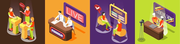 Quiz tv-show vierkant met televisie