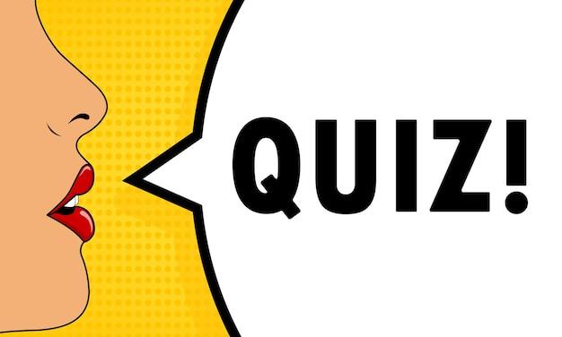 Quiz. vrouwelijke mond met rode lippenstift schreeuwen. tekstballon met tekst quiz. retro komische stijl. kan worden gebruikt voor zaken, marketing en reclame. vectoreps 10.
