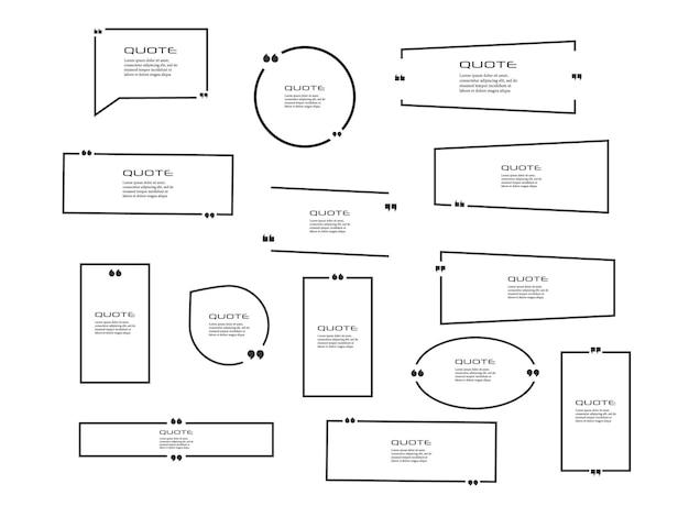Quote box frame, grote set. offerte vak pictogram. citaatvakken sms'en.