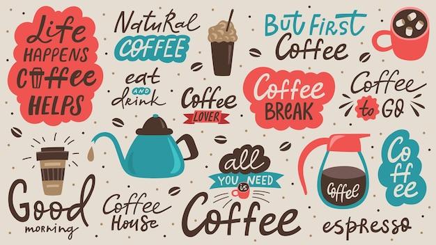Quote koffiekopje typografie en illustratie. kalligrafie stijl offerte. winkel promotie-elementen. grafisch ontwerp belettering. koffiewinkel, vector.