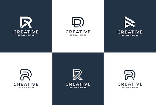 R brief logo collectie monogram stijl. logo inspiratiebundel.