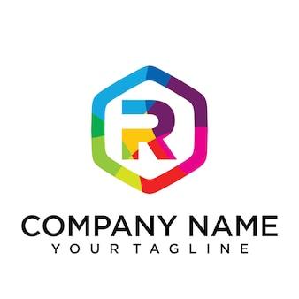 R brief logo pictogram zeshoek ontwerpsjabloon element