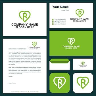 R eerste logo liefde vector ontwerp en visitekaartje premium