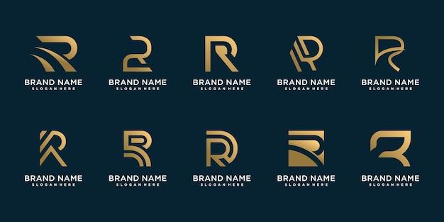 R-logocollectie met gouden creatief concept premium vector