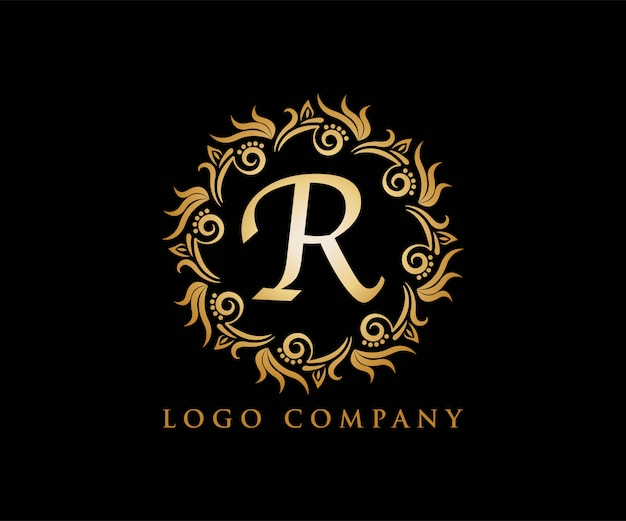 R ornament goud voor yoga-logo, bruiloft uitnodiging,