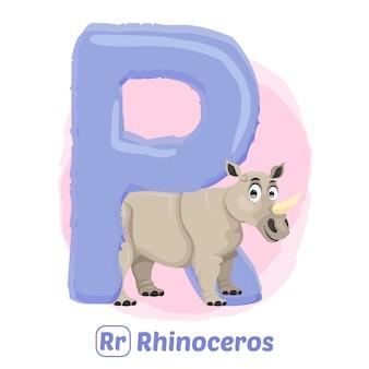 R voor neushoorn.