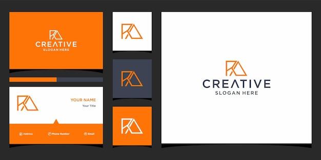Ra-logo-ontwerp met sjabloon voor visitekaartjes