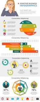 Raadplegen of statistieken concept infographic grafieken instellen