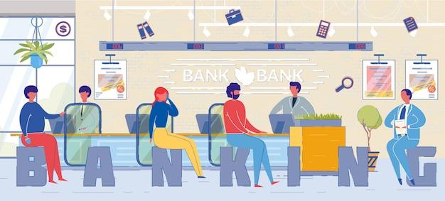 Raadplegende bankklanten word conceptbanner