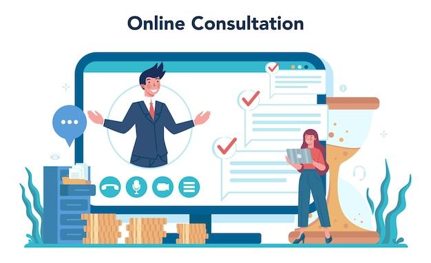 Raadpleging van online service of platform. onderzoek en aanbeveling.