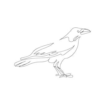 Raaf één lijntekeningen. doorlopende lijntekening van halloween-thema, gothic, ornithologie, eng, vogel.