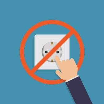 Raak het stopcontact niet aan