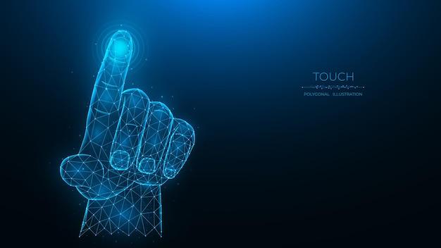 Raak het toekomstige concept aan veelhoekige vectorillustratie van een hand die op iets drukt