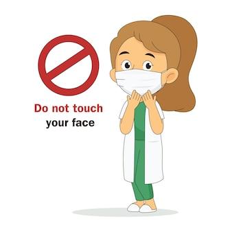 Raak uw gezicht niet aan, arts met gezichtsmaskers