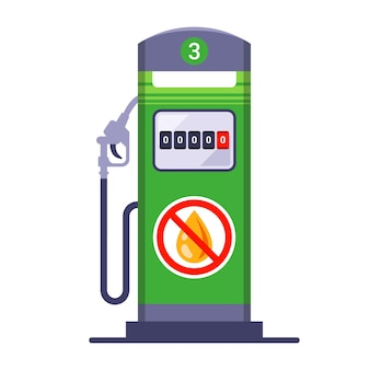 Raakte zonder benzine bij een benzinestation. gebrek aan brandstof.