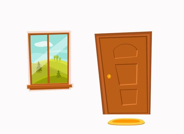 Raam en deur cartoon kleurrijke vectorillustratie met vallei zomer zon landschap met weg bomen groen veld huis appartement entree gang plat design