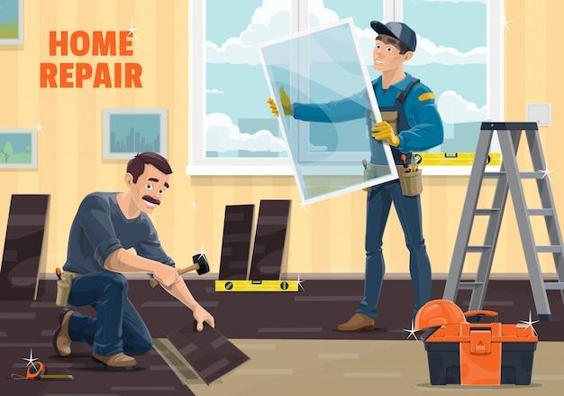 Raamwerker, huisreparatie, renovatie en verbouwing van timmerwerk,. werknemers bij installatie van ramen en laminaatvloeren met uitrustingsstukken, hamer en meetlint en ladder