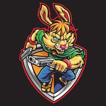 Rabbit gunner esport logo afbeelding