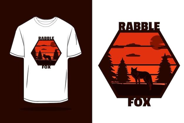Rabble fox silhouet retro t-shirt mockup ontwerp