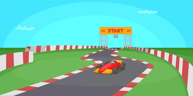 Race competitie horizontale achtergrond, cartoon stijl