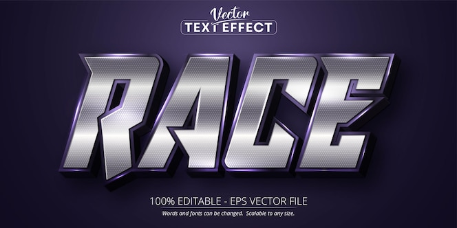 Race tekst glanzend zilver kleurstijl bewerkbaar teksteffect