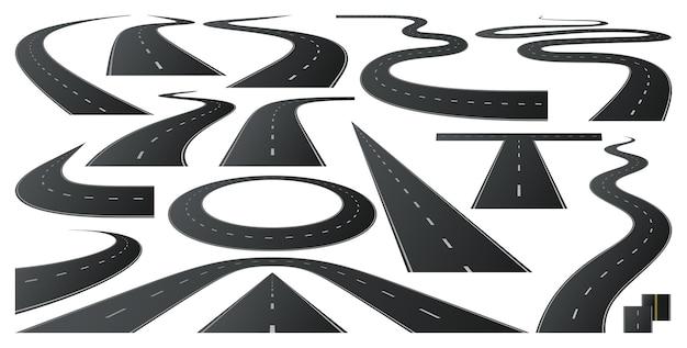 Race weg naar horizon asfaltwegen snelweg bocht en bocht lange weg