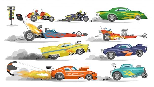 Raceauto drag racen op speedcar op een track en auto bolide rijden op rally sport evenement formule grandprix racebaan illustratie ingesteld op witte achtergrond