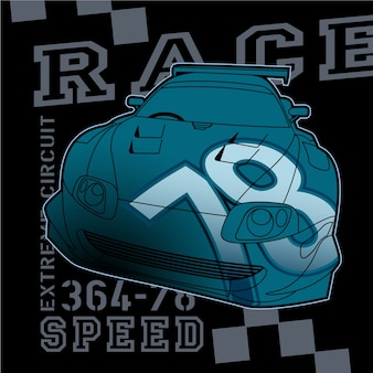 Raceauto grafisch, vector kunst illustratie