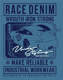 Raceauto grafische kunst, vector grafische illustratie