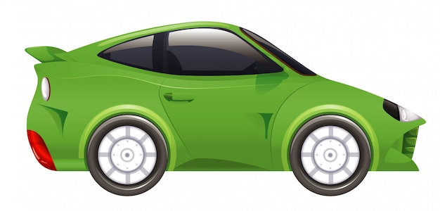 Raceauto in groene kleur op geïsoleerd