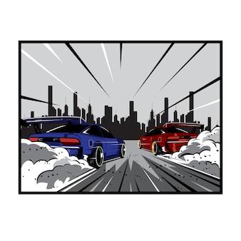 Raceauto op de stad