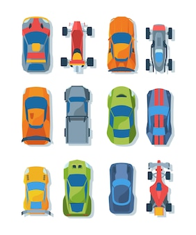 Raceauto's bovenaanzicht platte illustraties set. heldere raceauto's. modern sportvervoer.
