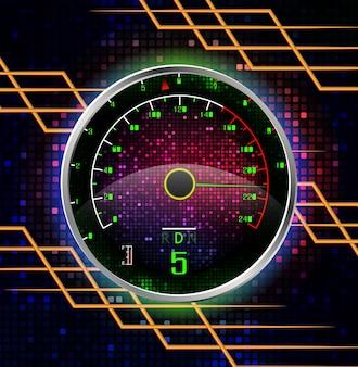Raceauto snelheidsmeterconcept met abstracte achtergrond