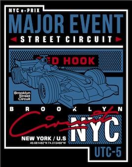 Raceauto typografische, vector ontwerp illustratie