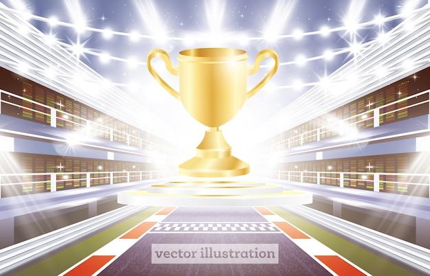Racebaan arena met spotlights finish line en golden cup
