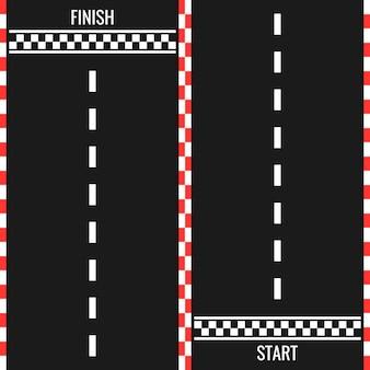 Racebaan met start- en finishlijn. auto of karting weg racen achtergrond. bovenaanzicht