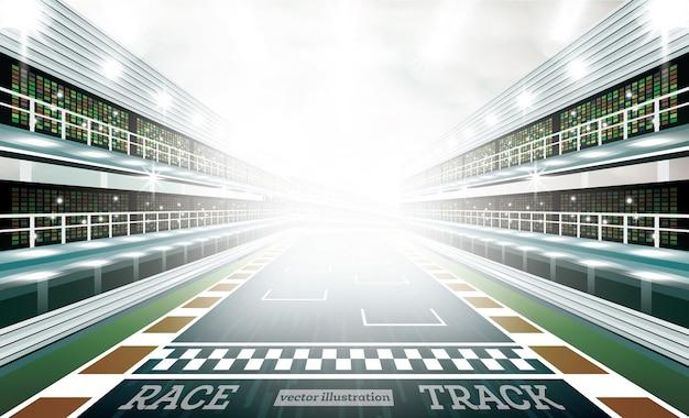 Racebaanarena met schijnwerpers en finishlijn