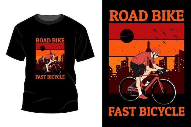 Racefiets snel fiets t-shirt mockup ontwerp vintage retro