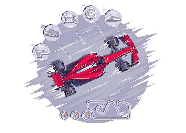Racen met hoge snelheden f1 queens-races toewijzing van de onderdelen van een sportwagen speed racing-toernooinaam