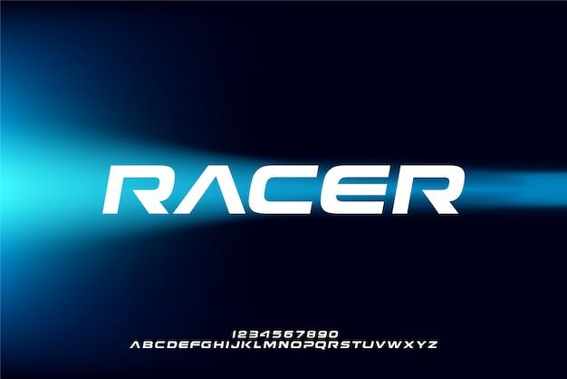 Racer, een abstract futuristisch alfabetlettertype met technologiethema. modern minimalistisch typografieontwerp