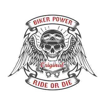 Racer schedel met vleugels en twee gekruiste zuigers. motorvermogen. rijd of sterf. element voor poster, t-shirt, embleem. illustratie