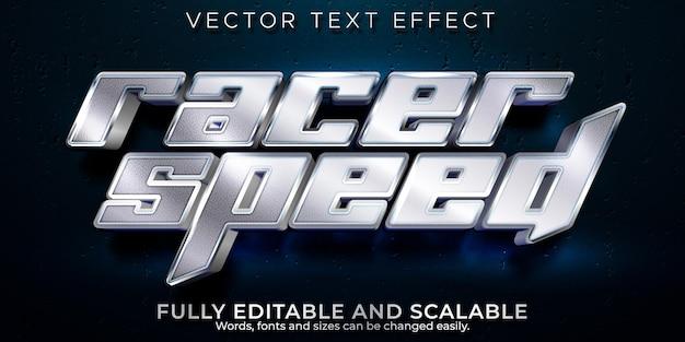 Racer snelheid teksteffect bewerkbare sport en kampioen tekststijl