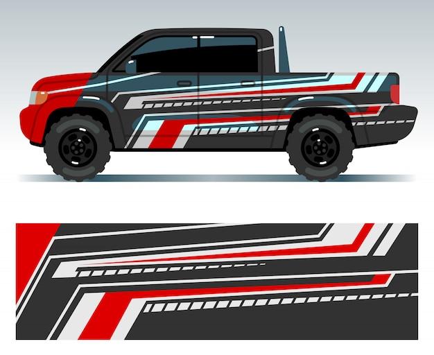 Racewagen ontwerp. voertuig wrap vinyl graphics met strepen vector illustratie