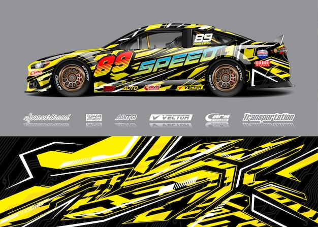 Racewagen wrap illustratie