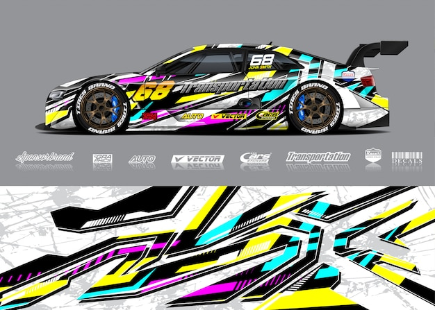 Racewagen wrap illustratie